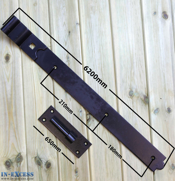 "600mm/24"" Black Cranked Hook & Bands Galvanised Gate Door Hinge Heavy Duty - Set of 2"