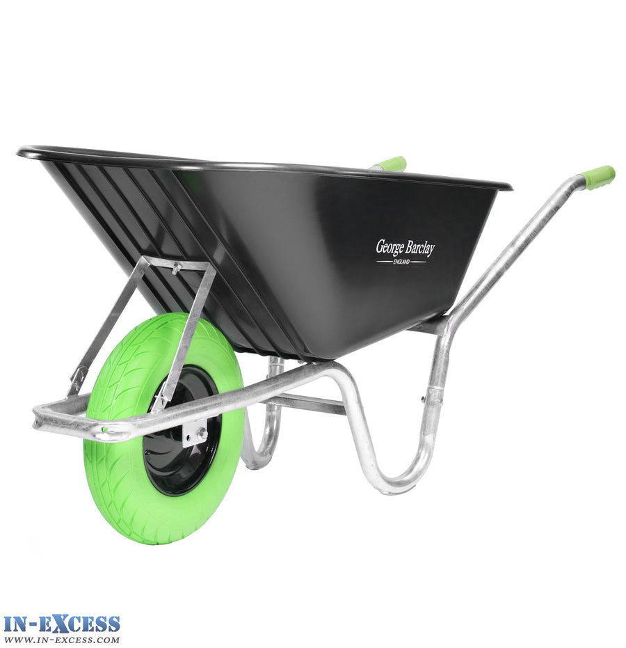 George Barclay Wheelbarrow 100L 100KG Capacity - Galvanised Frame - Green