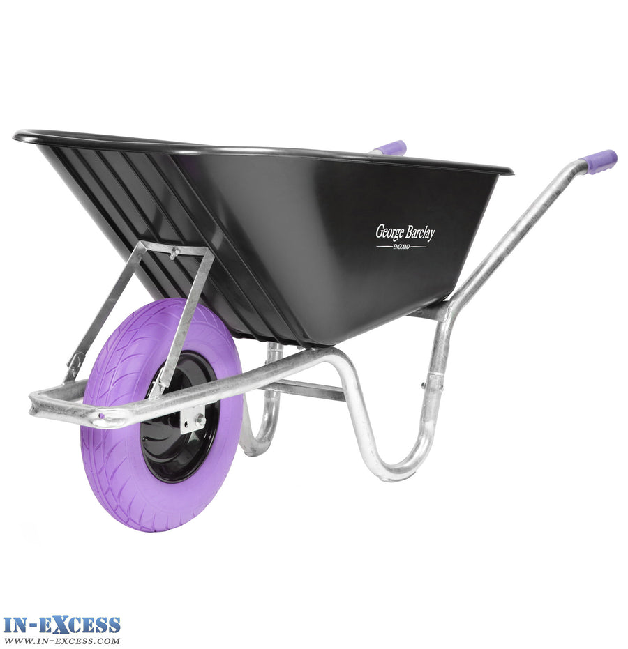 George Barclay Wheelbarrow 100L 100KG Capacity - Galvanised Frame - Purple