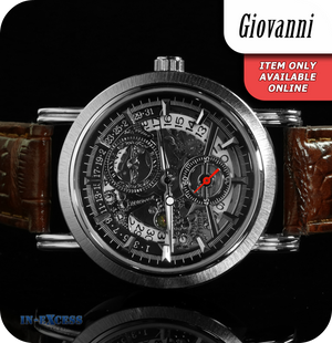 Giovanni Steampunk Mechanical Wrist Watch With Synthetic Leather Strap  - Silver & Brown