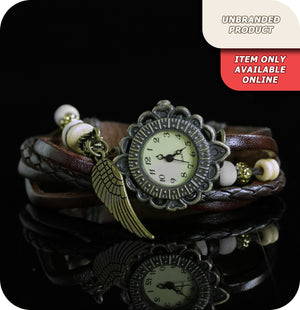 Giulia Forest Quartz Watch With Synthetic Leather & Beaded Strap - Brown & Brass Gold
