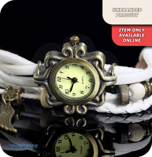 Giulia Snowcrow Quartz Watch With Synthetic Leather & Beaded Strap - White & Brass Gold