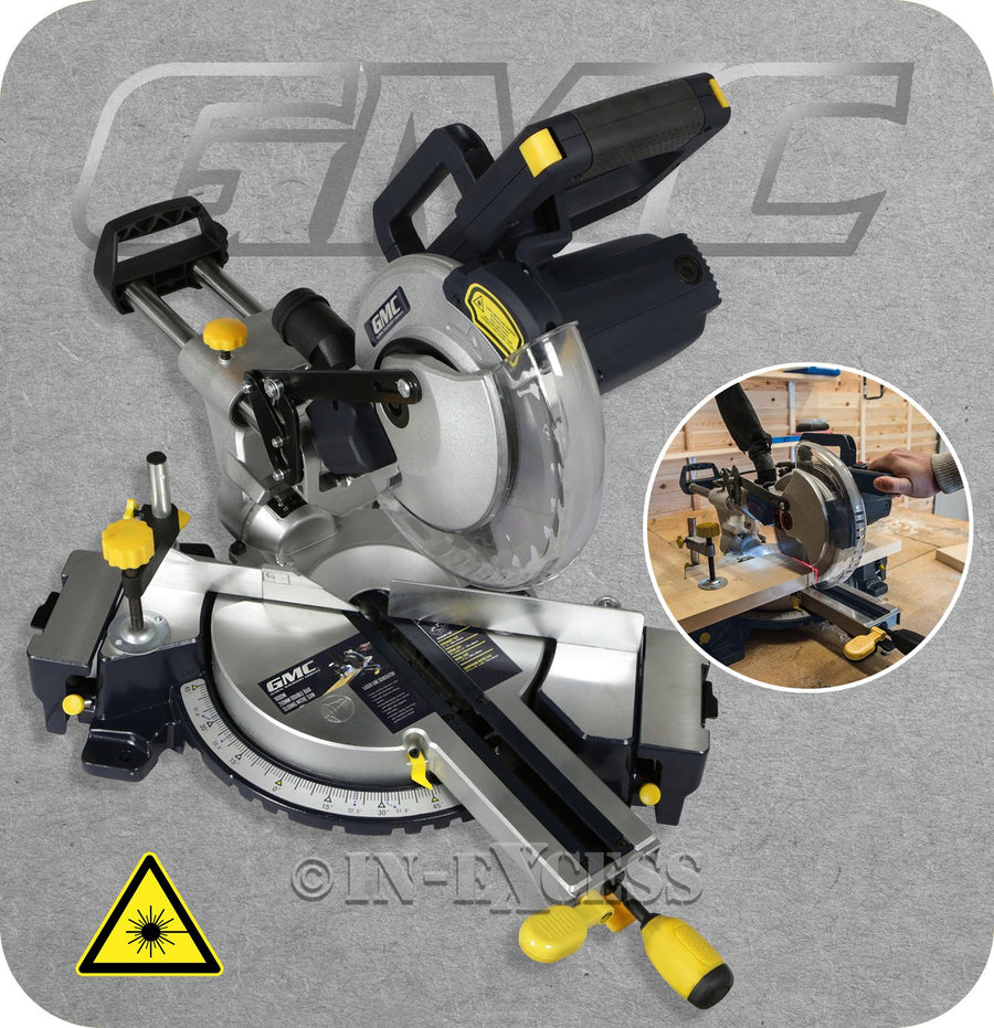 GMC Electric Double Bar Sliding Laser Cut Mitre Chop Saw 255mm - 1600W