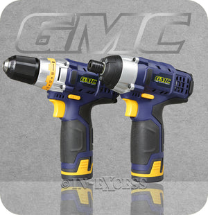 GMC 1.5Ah Li-ion Battery Cordless Hex Impact Driver & Drill Driver Twin Pack - 12V