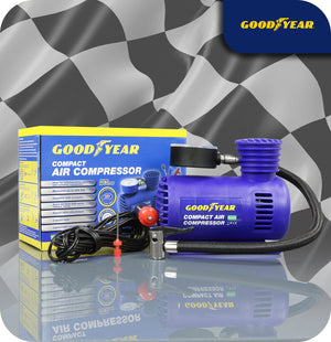 GoodYear Official Compact Air Compressor For Cars, Bikes, Tyres and Sporting Equipment - 12V