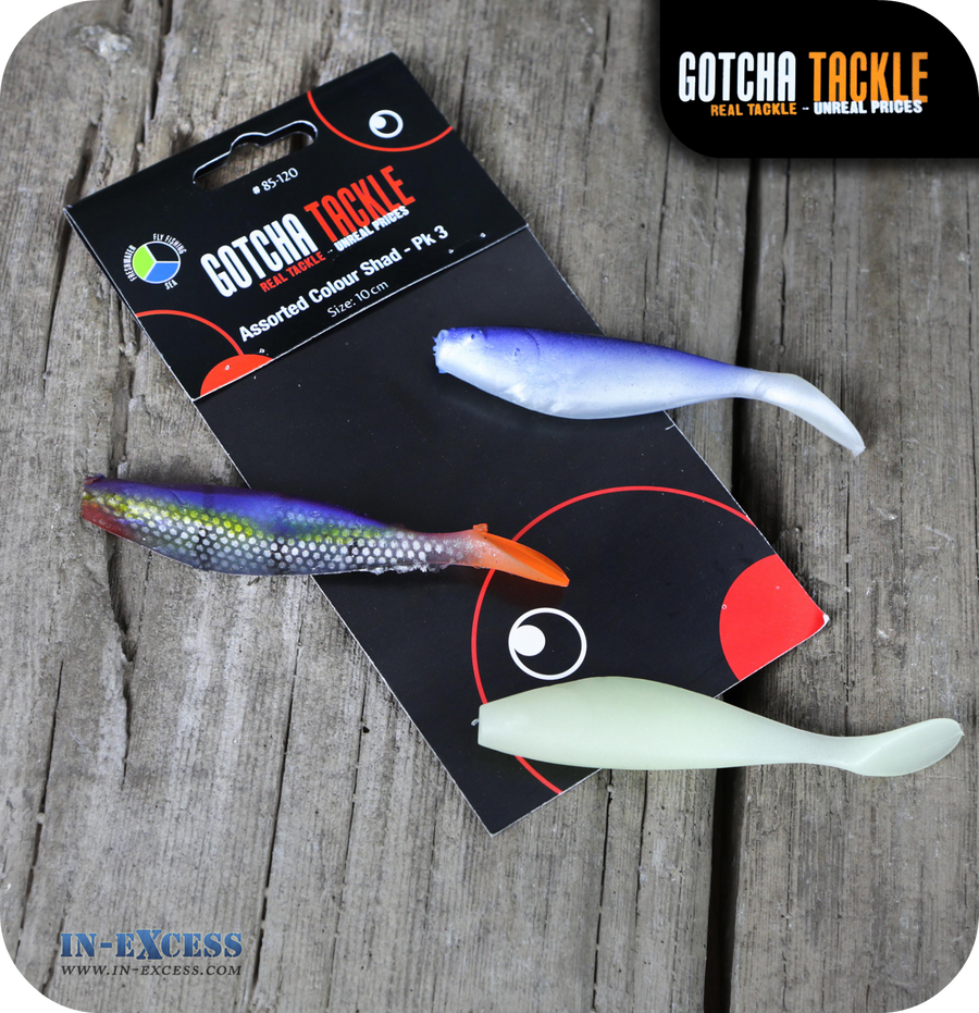 Gotcha Tackle Shads Assorted Colours - Pack of 3