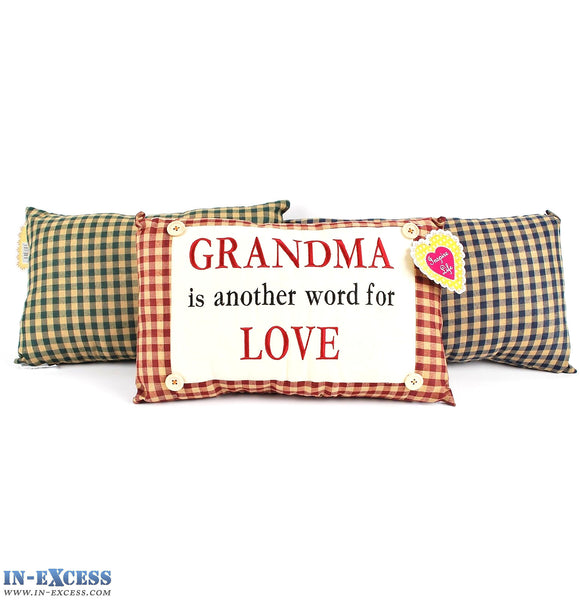 "Novelty ""Grandma Is Another Word For Love"" Cushion 38 x 23cm Blue, Green or Red"