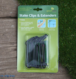 Green Tree Stake Clips & Extenders 11mm (12 clips & 4 extenders)