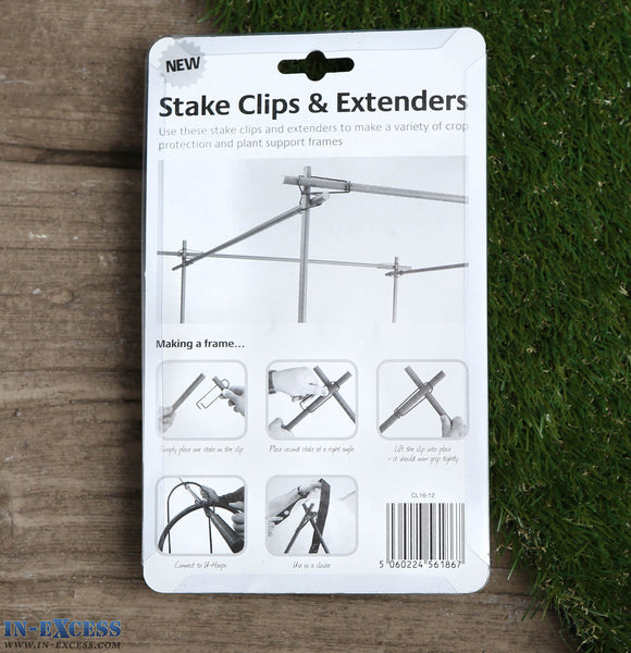 Green Tree Stake Clips & Extenders 16mm (12 clips & 4 extenders)
