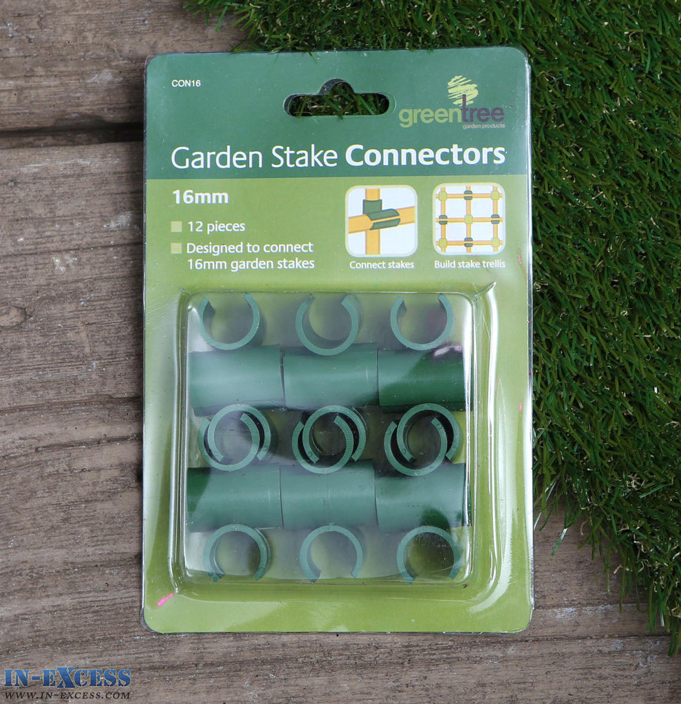 Green Tree Garden Stake Connectors 11mm Pack of 24