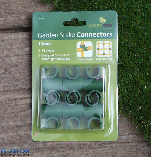 Green Tree Garden Stake Connectors 16mm Pack of 12