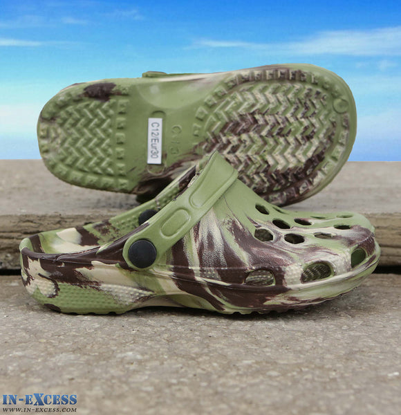 Gumbies Clogs - Childrens 6-13  Green Camo