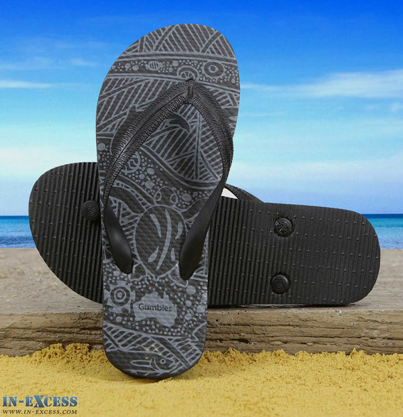 Gumbies EVA Flip Flops - Black Pattern UK3-7
