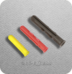 Solid Wall Plastic Rawl Plug Medium Weight Fixing - 3.5-6.5mm Screw (Gauge 6-14)