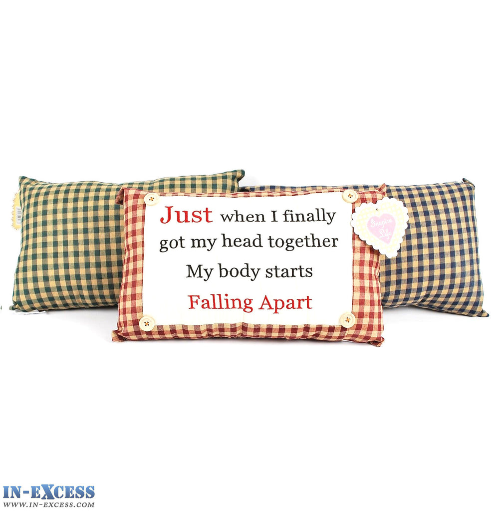 "Novelty ""My Body Starts Falling Apart"" Cushion 38 x 23cm Blue, Green or Red"