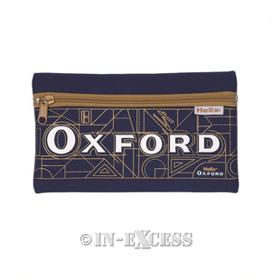 Helix Oxford Neoprene Zipped Stationery School Pencil Case - Navy Blue