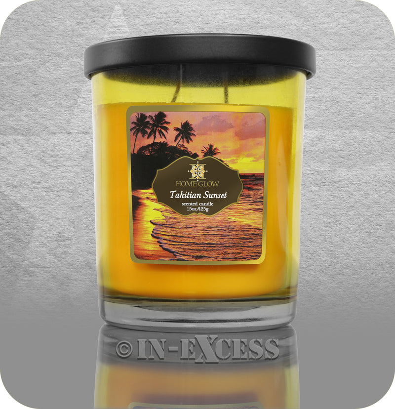 HomeGlow Scented Large Glass Jar Candle - Tahitian Sunset (425g)