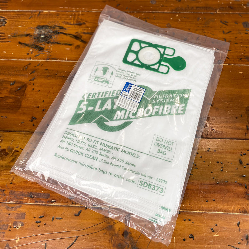 Numatic Henry Models Vacuum Cloth Bags. Part No: SDB373. Pack of 10