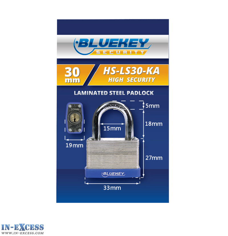 10x Bluekey Heavy Duty Laminated Steel Keyed Alike 30mm Padlocks HS-LS30-KA