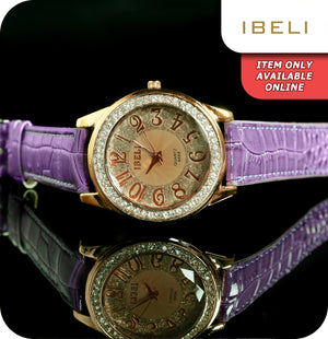 IBELI Valentina Quartz Wrist Watch With Synthetic Leather Purple Strap - Purple & Copper