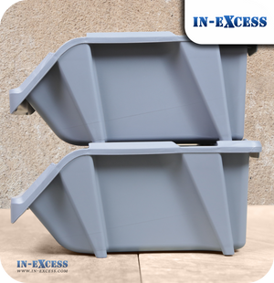 In-Excess 8 Piece Stackable Storage Bin System - Grey