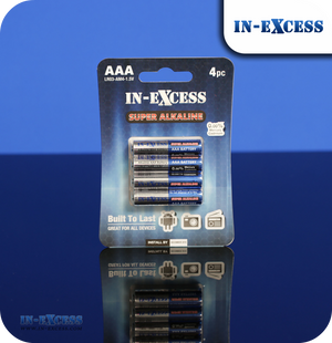 In-Excess AAA Super Alkaline Batteries - Pack of 4