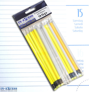 In-Excess 15 Assorted Coloured Stem Pencils with Rubbers