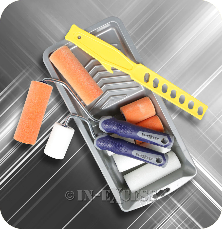 In-Excess Combination Mini Paint Roller Refills With Soft Grip Roller Frame, Paint Stirrer & Drip Painting Tray - Pack of 12