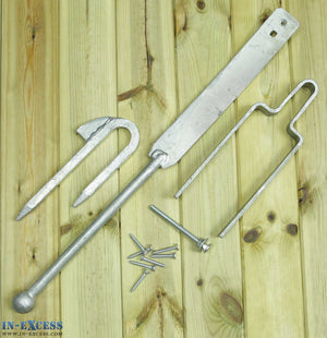 Field Gate Spring Fastener Set Heavy Duty Galvanised Catch & Latch