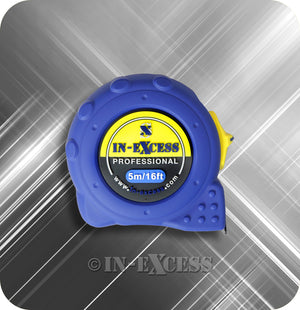 "In-Excess Professional Retractable True Zero Lockable Tape Measure 5m (16ft"") - Blue"