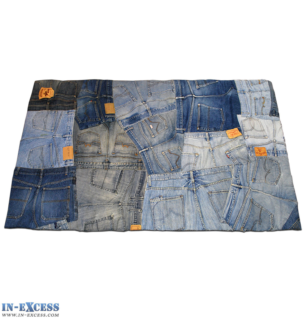Hand Sewn Recycled Jeans Denim Patchwork Rug - Backs