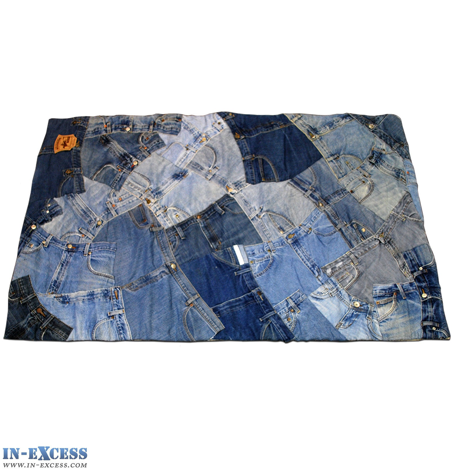 Hand Sewn Recycled Jeans Denim Patchwork Rug
