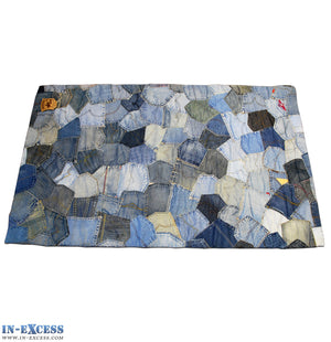 Hand Sewn Recycled Jeans Denim Patchwork Rug - Pockets