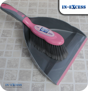 In-Excess Home Dustpan & Brush Set - Pink