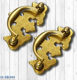 In-Excess Hardware Plain Drawer Antique Styled Pull Furniture Handles 2 Pk