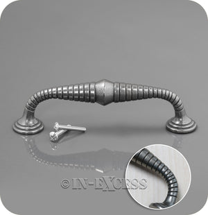 In-Excess Hardware Armadillo Kitchen Cupboard D Handle - Pewter