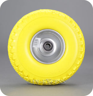 In-Excess Hardware Solid Puncture Proof Replacement PU Sack Truck Trolley Wheel - Yellow (260mm)