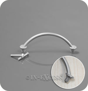 In-Excess Hardware Offset Bow Kitchen Cupboard Pull Handle - Satin Nickel
