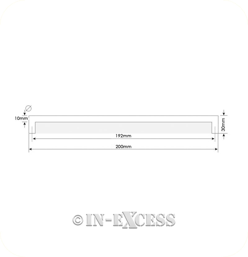 In-Excess Hardware Large Cosmopolitan Kitchen Cupboard Pull Handle - Polished Chrome & Frosted Perspex