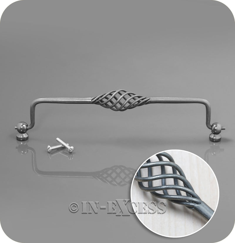 In-Excess Hardware Seville Bird Cage Kitchen Cupboard Door Drop Handle - Pewter