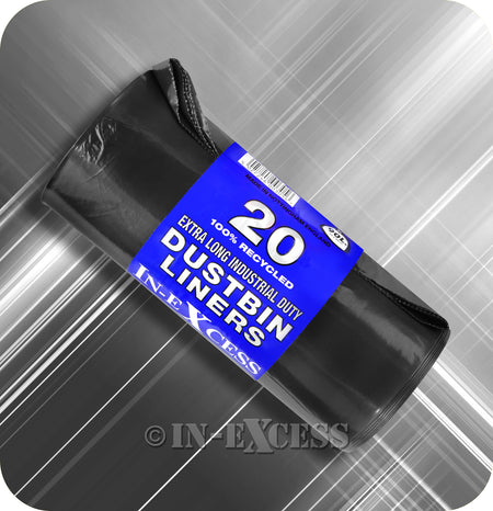 In-Excess Industrial Duty Extra Long Recycled Black Sack Dustbin Liner 90 Litres - Roll of 20 Liners