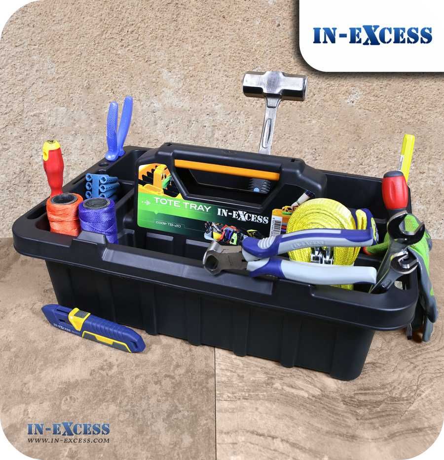 In-Excess Heavy Duty Tote Tray Organiser & Toolbox - Black