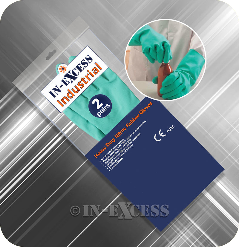 In-Excess Industrial Heavy Duty EN388 & EN374 Nitrile Rubber Gloves - 2 Pairs of Green Gloves