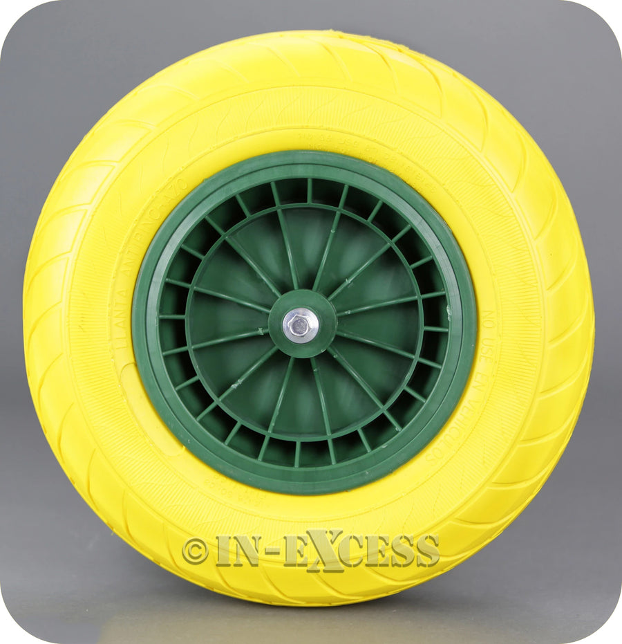In-Excess Hardware Solid Plastic Rim Replacement PU Wheelbarrow Wheel - Yellow (390mm)