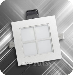 In-Excess Satin Square Recessed G9 Capsule Downlight - Grated & Grid