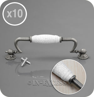 In-Excess Hardware Winchester Kitchen Cupboard Door Drop Handle - Pewter & White Crackled Ceramic