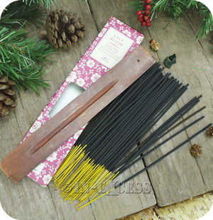 Fragranced Room Aroma Incense Sticks With Wooden Holder Lily Bloom - Pack of 60 Pieces