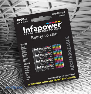 Infapower Rechargeable 1000mAH AAA 1.2V Batteries Pack of 4