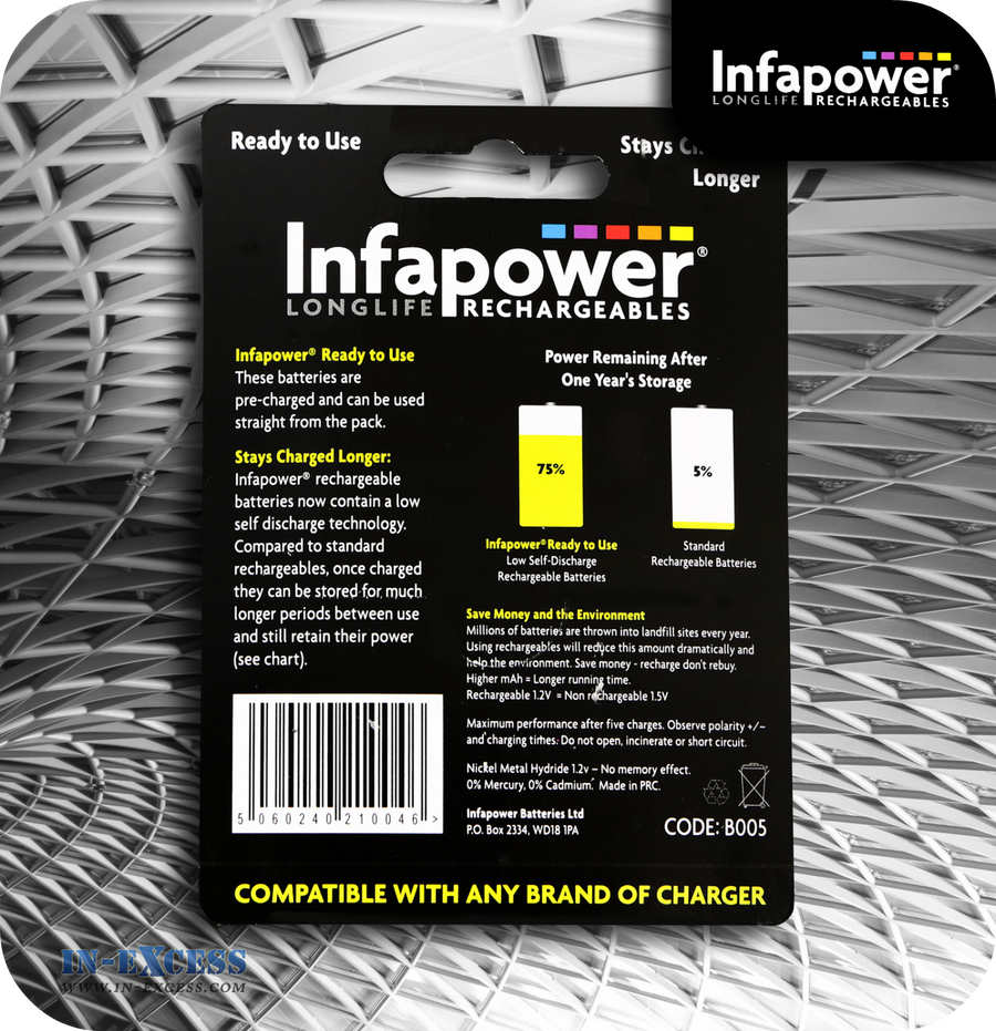 Infapower Rechargeable C Batteries 2500mAh - Pack of 2