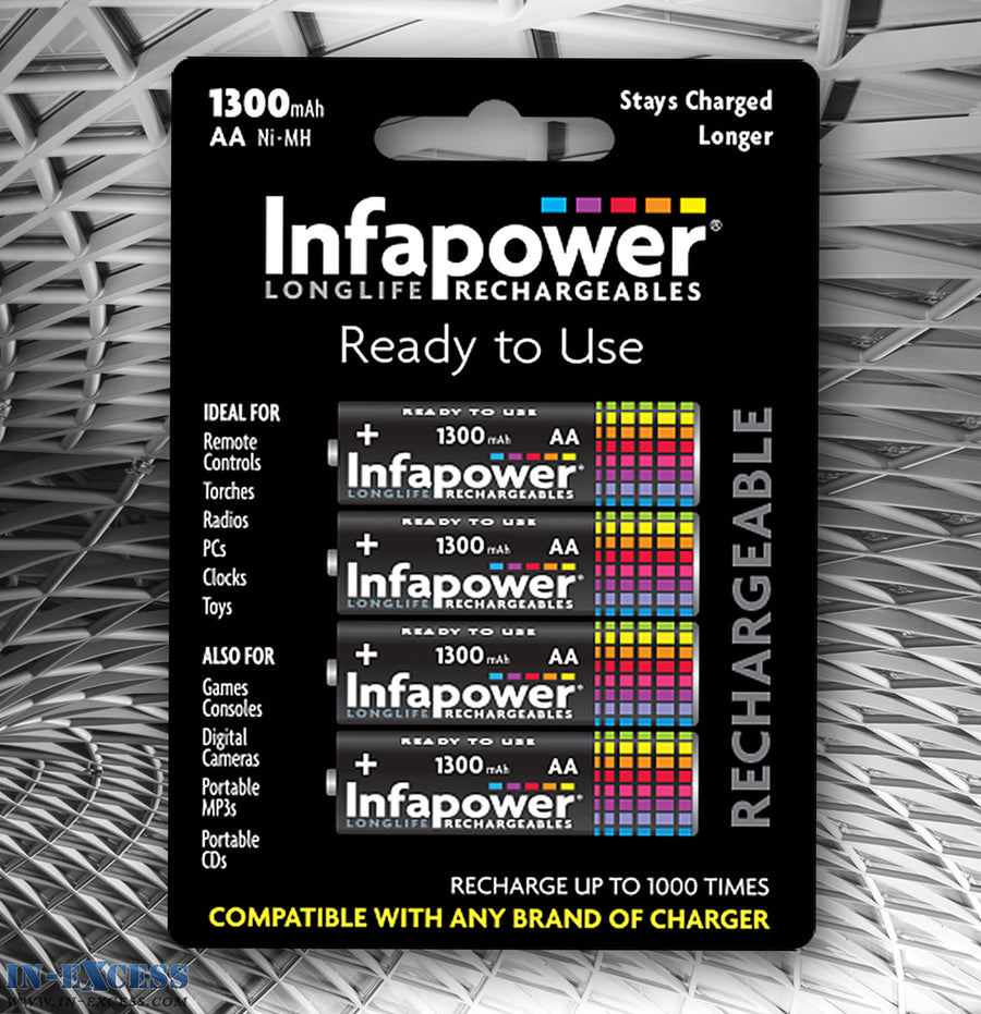 Infapower Rechargeable 1300mAH AA 1.2V Batteries Pack of 4